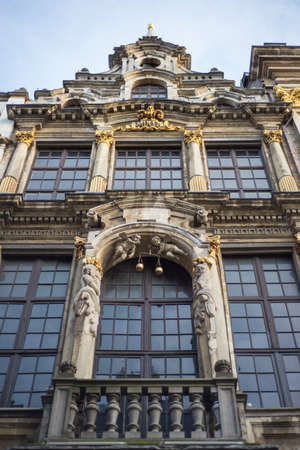 belgique: Wall of medieval gothic city hall in Grand Place Stock Photo