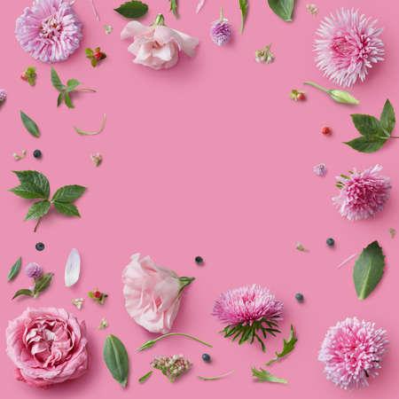pink floral: Pink flowers frame