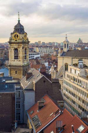 belgique: clock tower in Brussels Stock Photo
