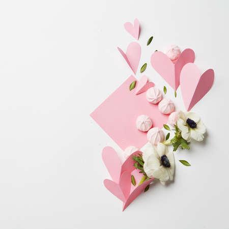 white: Empty copyspace valentine card Stock Photo