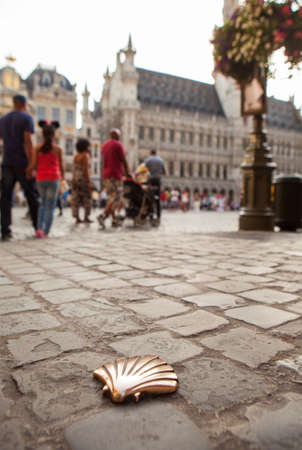 pilgrim journey: St James shell in Brussels Stock Photo