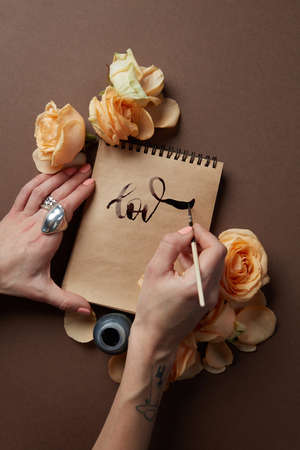 pen writing: Hand with pen writing
