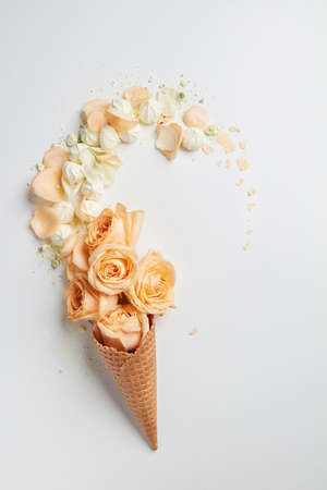 Waffle cone with flowers