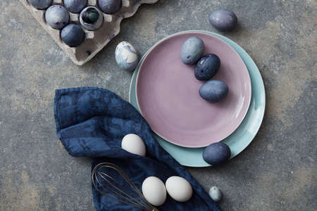Easter eggs on a plate Stock Photo