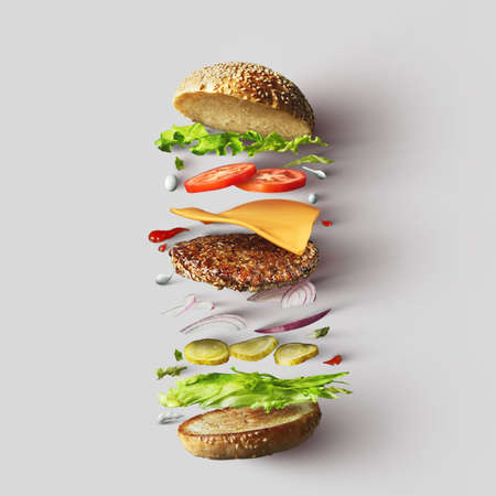 Burger ingredients against white background