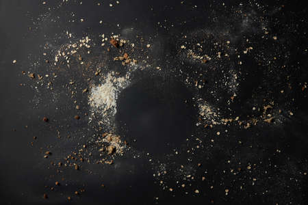 Sprinkled flour over background 스톡 콘텐츠
