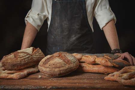artisan bakery: Fresh bread on the table Stock Photo