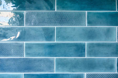 rainbow colors: Blue background with ceramic tiles