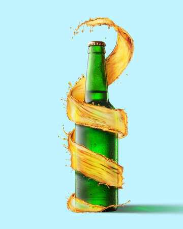 A green beer bottle and a splash