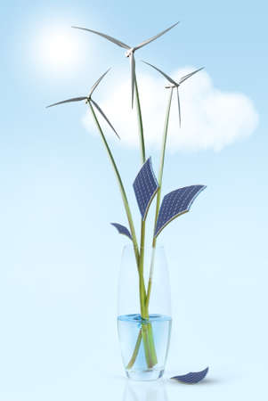 turbina de vapor: flower stems with leaves and wind turbines in vase with water. Green energy concepts