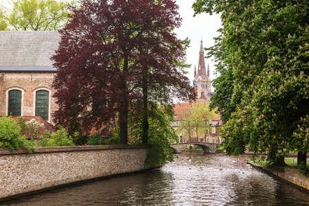 Lake in Begijnhof of Bruges city, Belgium