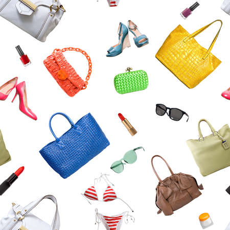 seamless pattern of collection womens accessories. Handbag, shoes, purse and lipstick