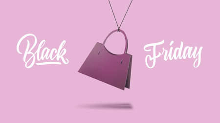 a label in shape of the classic womens handbag made of cardboard on a purple background. calligraphic text is black Friday. The concept of sales