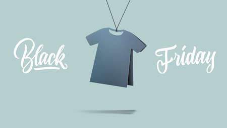 lable in shape t-shirt made of cardboard on a blue background.a Calligraphic text black Friday and sales concept Stock fotó