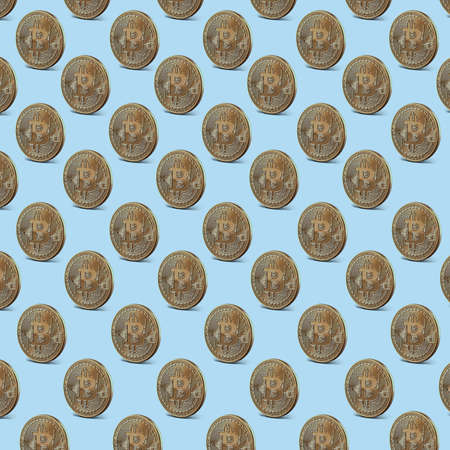 Gold coin bitcoin, pattern seamless