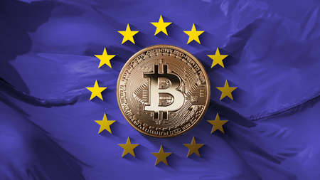 Stars of the European Union and bitcoin gold coin on an ultraviolet background. Control of the European Union bitcoin-platforms and the turnover of the crypto currency. Can be used for video or site cover
