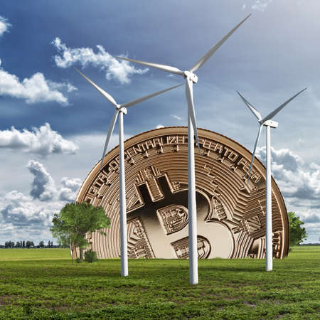 Gold coin bitcoin against the sky and field. Eco concept. The photo can be used in blockchain ICO projects on the ecology and nature. Modern eco and crypto concept for video and site covers
