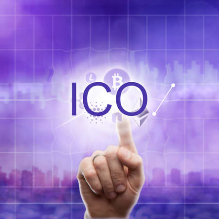 Different icons cryptocurrency: Litecoin, etherium, ripple, bitcoin and hand touches the abbreviation ICO on the ultraviolet background of the city