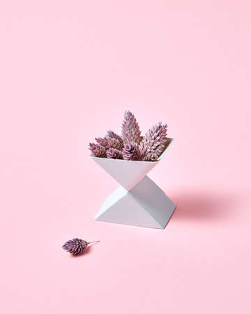 Creative composition of two cardboard boxes with cones on a pink background with space for text. Autumn layout Banco de Imagens