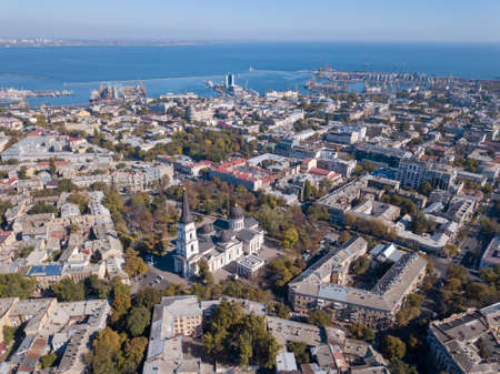 Panoramic view of the Black Sea with the port and the city from Spaso-Preobrazhensky. Cathedral against the blue sky. Ukraine, Odessa. Aerial view from the drone Stock fotó