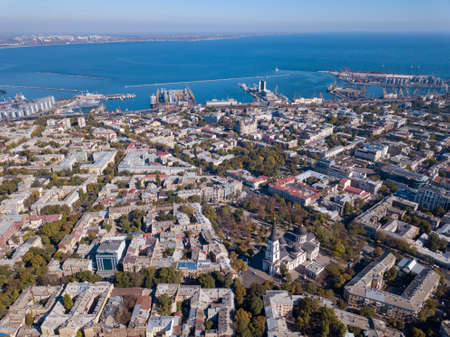 Panoramic view of the city of Odessa, from Spaso-Preobrazhensky Cathedral and sea port on a background of blue sky. Ukraine. Aerial view from the drone