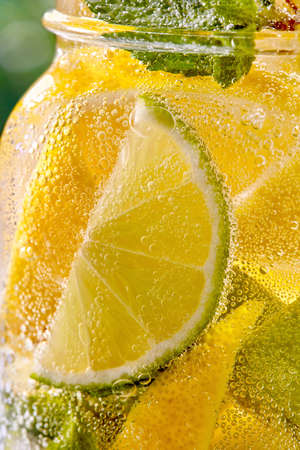 Sparkling fresh cooling homemade coktail with slices of lime, lemon and mint leaf in a glass carbonated. Summer drink close up background.