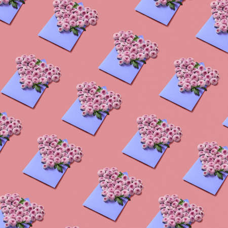 Floral pattern of congratulation envelopes with hardy chrysanthemums on a pastel background.