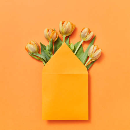 Mock up envelope with yellow tulips on an orange background. 스톡 콘텐츠