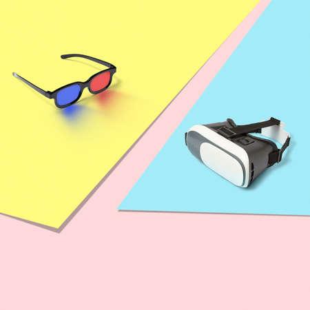 3D and virtual reality glasses on a tricolor pastel background.