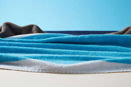 Seascape with waves and rocks from colorful terry towels.