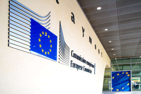 Logo of the European Commission building in Brussels.