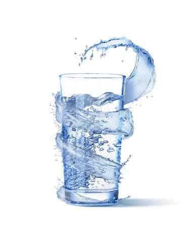 Water wave splash around full glass.