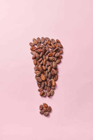 Natural cocoa beans in the form of exclamation mark.