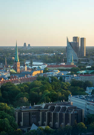 Cityscape views to historical and modern parts of town Riga, Latvia.