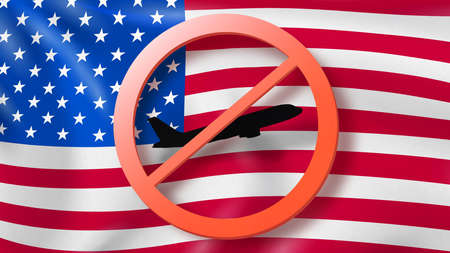 Warning sign with crossed out plane on the background of American flag. Imagens