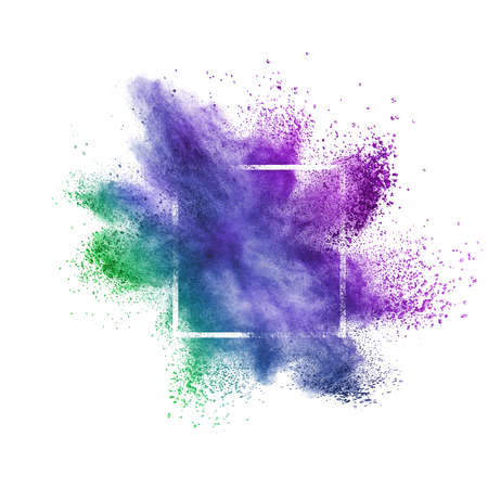 Abstract creative splash from colorful dust or powder in a square frame on a white background with copy space.