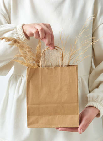 Womans hand holding paper eco bag with dry natural plant twig.