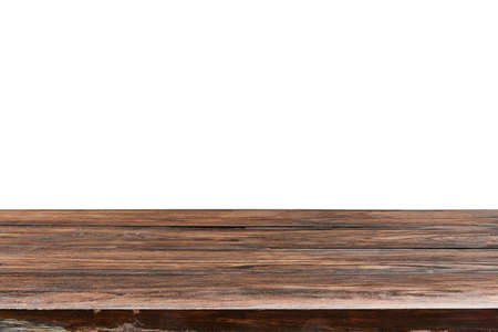 Natural aged oaken table on a white background for display or demonstration your products.