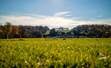 Green field before Schonbrunn Palace in Vienna on a blue sky background. Banque d'images