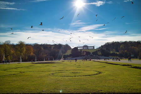 Beautiful landscape before Schonbrunn Palace in Vienna. Banque d'images
