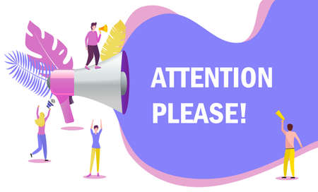 Group of people shouting on megaphone with attention please word vector concept. It can be used for websites, landing pages, mobile app.  イラスト・ベクター素材