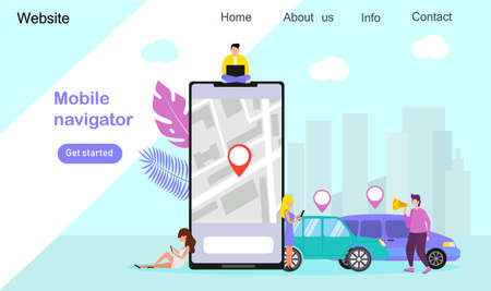 Mobile navigator or city transportation concept vector, online car sharing. it can be used for websites, landing page, template, mobile app, flyer