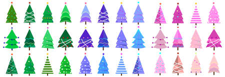 Big collection of Christmas trees, modern, interesting flat design. It can be used for printed materials, posters, business cards or for web.