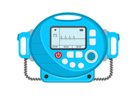 Defibrillator vector icon. Portable device used in medicine for electro-pulse therapy of cardiac arrhythmias, for renemational procedures.