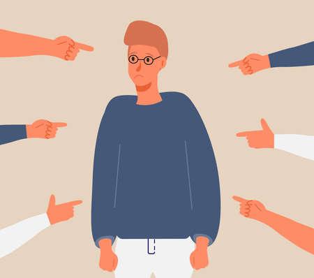 Opferszene in der Gesellschaft. Gestresster Junge in Scham und Händen mit Zeigefinger. Konzept der Anschuldigung im Leben, Depression in der Arbeit, ich Schule, Schuldvektorkonzept. Frustrierte, schikanierende Arbeiter.
