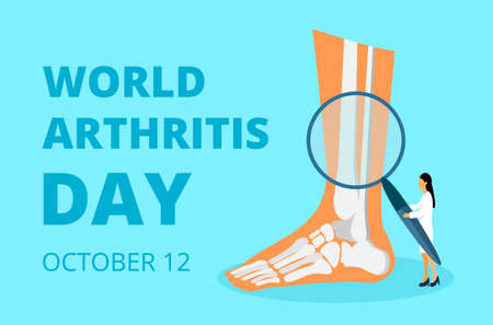 World arthritis day in October. Tiny doctors treat rheumatism, osteoarthritis. Healthcare flat concept vector on the blue background for landing page, banner, app. Banco de Imagens - 130073890