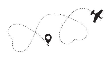 Double love airplane route. Romantic travel simbol, heart dashed line trace for event. Ilustração