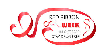 National Red Ribbon Week is organized annually in the end October. Stay drug free text.