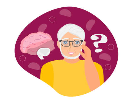 Alzheimer old man, neurology health care, Parkinson or dementia metaphor are shown. Ilustracja
