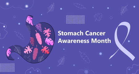 Stomach Cancer Awareness Month is organised on November in United States. Stomach shape on autumn leaves and periwinkle blue ribbon are shown. Health care trendy background vector for banner, web.